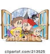 Royalty Free RF Clipart Illustration Of A Happy Family Looking Out A Window
