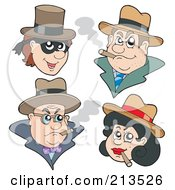 Royalty Free RF Clipart Illustration Of A Digital Collage Of Gangsters