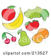 Royalty Free RF Clipart Illustration Of A Digital Collage Of Fruit 1 by visekart