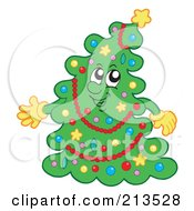 Royalty Free RF Clipart Illustration Of A Happy Trimmed Christmas Tree