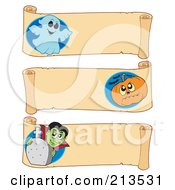Royalty Free RF Clipart Illustration Of A Digital Collage Of Three Halloween Parchment Banners 4
