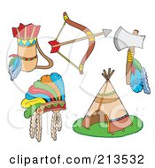 Royalty Free RF Clipart Illustration Of A Digital Collage Of Native American Items by visekart