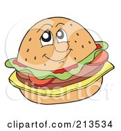 Royalty Free RF Clipart Illustration Of A Cheeseburger Face by visekart