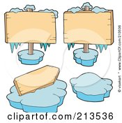 Royalty Free RF Clipart Illustration Of A Digital Collage Of Frozen Winter Signs