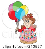 Royalty Free RF Clipart Illustration Of A Brunette Birthday Girl With Balloons And A Cake