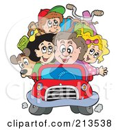 Royalty Free RF Clipart Illustration Of A Happy Family Packed In A Car