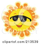 Royalty Free RF Clipart Illustration Of A Summer Time Sun Smiling With Shades 2