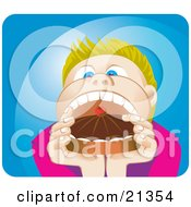 Blond Boy Opening His Mouth Wide To Shove In A Whole Cake With Choclate Frosting