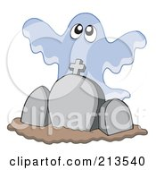Royalty Free RF Clipart Illustration Of A Group Of Ghosts Over Headstones