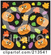 Background Of Halloween Pumpkins And Autumn Leaves On Black by visekart