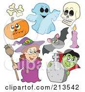 Royalty Free RF Clipart Illustration Of A Digital Collage Of Halloween Characters