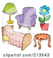 Royalty Free RF Clipart Illustration Of A Digital Collage Of Household Furniture by visekart