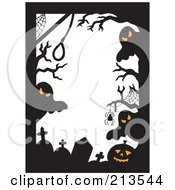 Royalty Free RF Clipart Illustration Of A Border Of Halloween Ghosts Spiders Jackolanterns And Tombstones