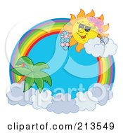 Royalty Free RF Clipart Illustration Of A Rainbow And Cloud Circle With A Hawaiian Summer Time Sun