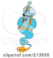Royalty Free RF Clipart Illustration Of A Blue Genie Above His Little Lamp
