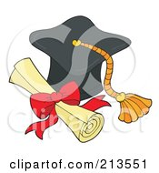 Royalty Free RF Clipart Illustration Of A Graduation Cap And Diploma by visekart
