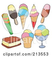 Royalty Free RF Clipart Illustration Of A Digital Collage Of Frozen Desserts by visekart