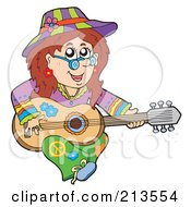 Royalty Free RF Clipart Illustration Of A Female Hippie Playing A Guitar by visekart