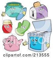 Digital Collage Of Pot Toaster Jar Mitt Tea Pot And Oven Characters