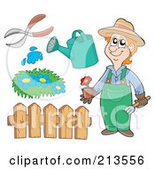 Royalty Free RF Clipart Illustration Of A Digital Collage Of A Gardener And Items by visekart