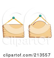 Royalty Free RF Clipart Illustration Of A Digital Collage Of Two Hanging Wood Signs