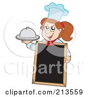 Royalty Free RF Clipart Illustration Of A Brunette Chef Girl Holding A Platter By A Blank Menu Board