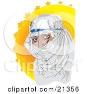 Blue Eyed Muslim Woman Covered In A White Headscarf Over A Yellow Starry Background