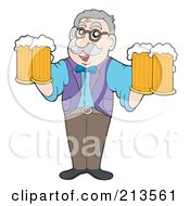 Royalty Free RF Clipart Illustration Of A Friendly Man Holding Four Beers by visekart