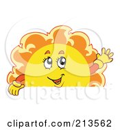 Royalty Free RF Clipart Illustration Of A Summer Time Sun Over A Blank Sign 2