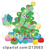 Royalty Free RF Clipart Illustration Of A Happy Christmas Tree Holding A Present
