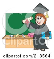 Royalty Free RF Clipart Illustration Of A Graduate And Diploma By A Chalk Board by visekart