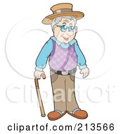 Royalty Free RF Clipart Illustration Of A Senior Man Holding A Cane