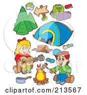 Royalty Free RF Clipart Illustration Of A Digital Collage Of Children Around A Campfire And Camping Gear by visekart