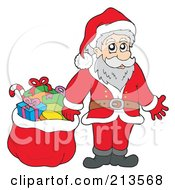 Royalty Free RF Clipart Illustration Of A Cartoon Santa Standing Beside A Sack Of Toys