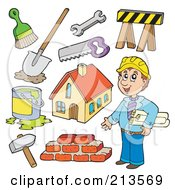 Royalty Free RF Clipart Illustration Of A Digital Collage Of A Builder And Contractor Items