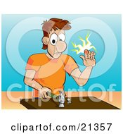 Poster, Art Print Of White Man In An Orange Shirt Holding Up A Throbbing Finger After Hitting It With A Hammer