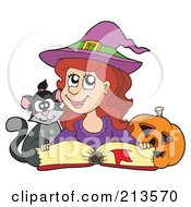 Royalty Free RF Clipart Illustration Of A Cute Halloween Witch In Purple Reading A Spell Book With A Cat