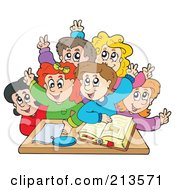 Royalty Free RF Clipart Illustration Of A Group Of Happy Students Raising Their Hands by visekart