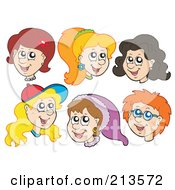 Royalty Free RF Clipart Illustration Of A Digital Collage Of Six Female Faces by visekart