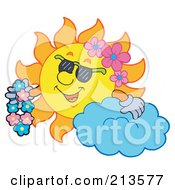 Royalty Free RF Clipart Illustration Of A Summer Time Sun With A Cloud Shades And Flowers
