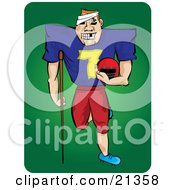 Grinning Injured Football Player With Missing Teeth A Bandage On His Head And An Injured Leg Carrying His Helmet And Leaning On A Crutch