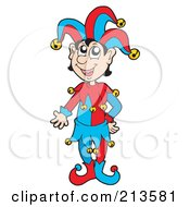 Royalty Free RF Clipart Illustration Of A Friendly Joker In A Red And Blue Costume