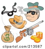 Royalty Free RF Clipart Illustration Of A Digital Collage Of A Gangster And Items