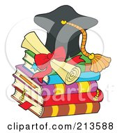 Royalty Free RF Clipart Illustration Of A Graduation Cap And Diploma On Books by visekart