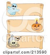 Royalty Free RF Clipart Illustration Of A Digital Collage Of Three Halloween Parchment Banners 1