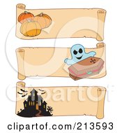 Royalty Free RF Clipart Illustration Of A Digital Collage Of Three Halloween Parchment Banners 2