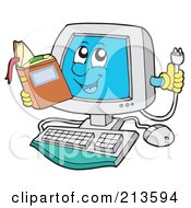 Royalty Free RF Clipart Illustration Of A Computer Character Reading And Holding A Plug by visekart