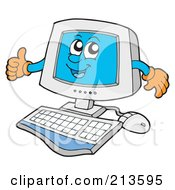 Royalty Free RF Clipart Illustration Of A PC Character With His Thumb Up by visekart