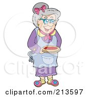 Royalty Free RF Clipart Illustration Of A Happy Granny Holding A Pie