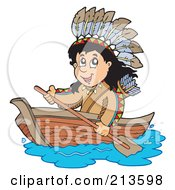 Royalty Free RF Clipart Illustration Of A Happy Native American Boy Rowing A Boat